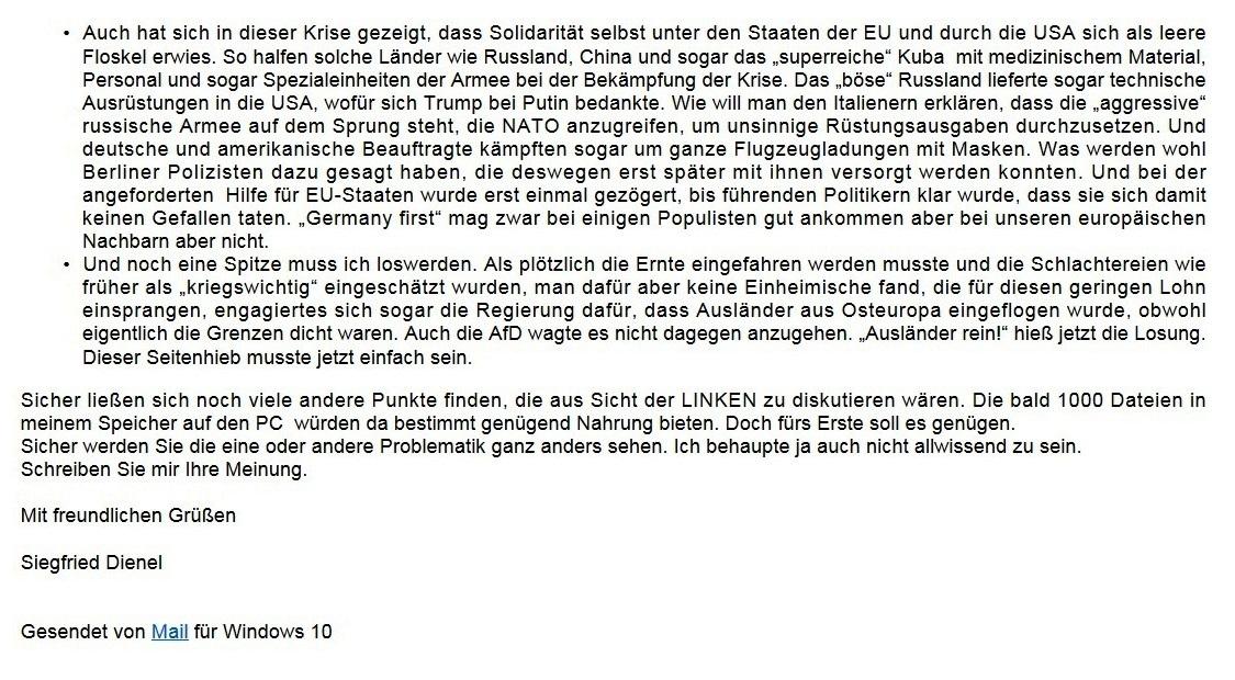 Aus dem Posteingang von Siegfried Dienel - Email von Siegfried Dienel vom 08.11.2020 an Frau Karoline Rüsing - What about Corona