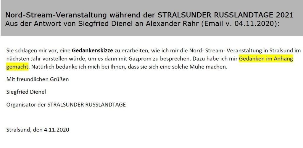 Aus dem Posteingang von Siegfried Dienel - Aus der Email von Siegfried Dienel vom 04.11.2020 an Alexander Rahr - Gedankenskizze zur Nord-Stream-Veranstaltung während der STRALSUNDER RUSSLANDTAGE 2021