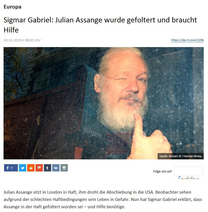 Europa - Sigmar Gabriel: Julian Assange wurde gefoltert und braucht Hilfe
