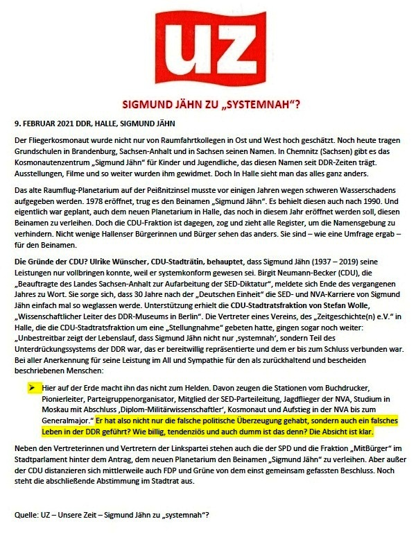 SIGMUND JÄHN ZU 'SYSTEMNAH'? - Unsere Zeit - 9.Februar 2021 - DDR, Halle, Sigmund Jähn - Quelle: Unsere Zeit - Sigmund Jähn zu 'systemnah'? - Aus dem Posteingang von Siegfried Dienel vom 25.02.2021