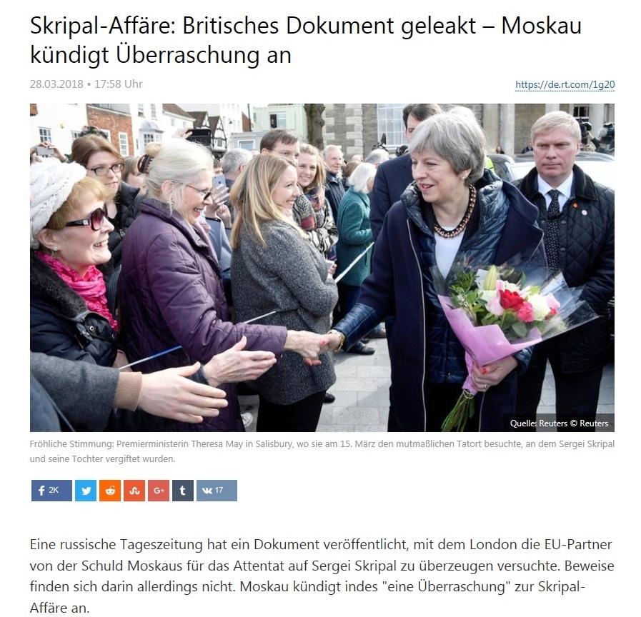 Europa - Skripal-Affäre: Britisches Dokument geleakt – Moskau kündigt Überraschung an