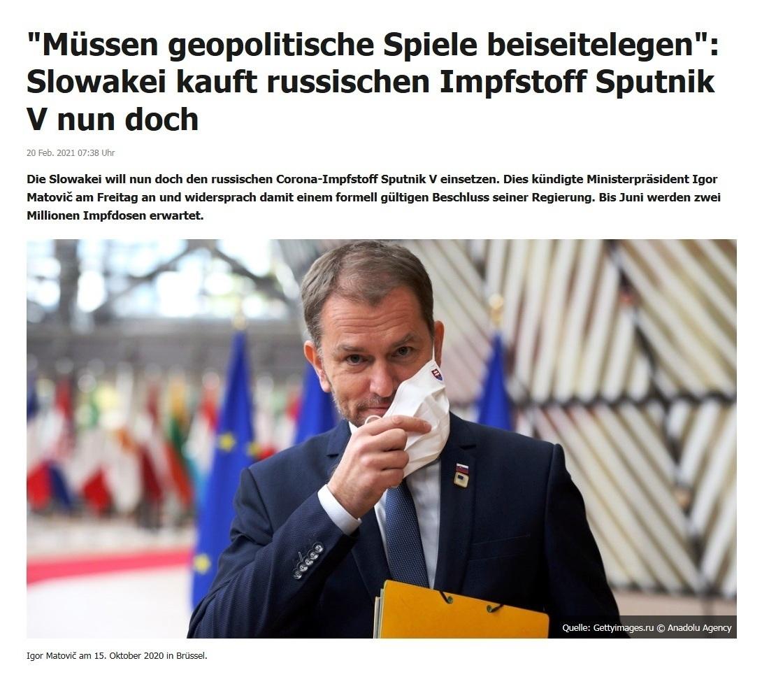 'Müssen geopolitische Spiele beiseitelegen': Slowakei kauft russischen Impfstoff Sputnik V nun doch - RT DE - 20 Feb. 2021 07:38 Uhr