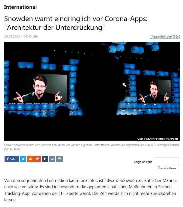 International - Snowden warnt eindringlich vor Corona-Apps: 'Architektur der Unterdrückung'  - RT Deutsch - 16.04.2020