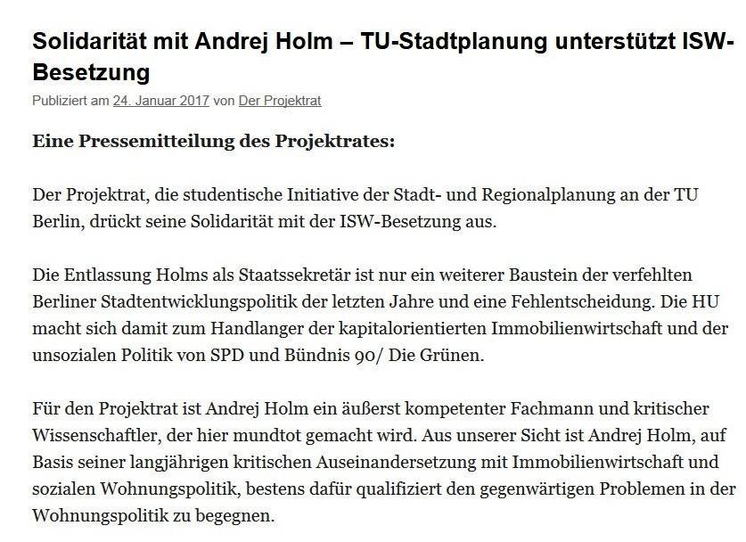 Andrej Holm ergreift die Massen - Solidarität der TU Stadtplanung Berlin mit Andrej Holm – TU-Stadtplanung unterstützt ISW-Besetzung