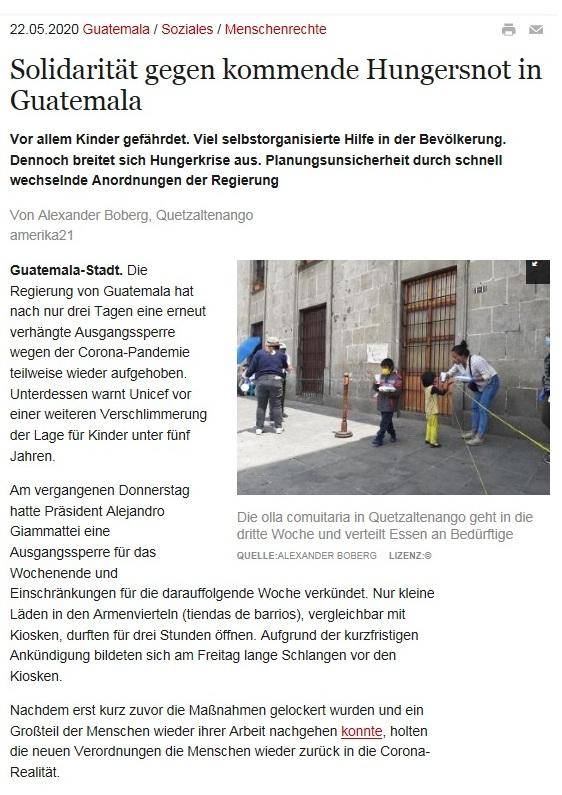 Solidarität gegen kommende Hungersnot in Guatemala - amerika21 - Nachrichten und Analysen aus Lateinamerika - 22.05.2020