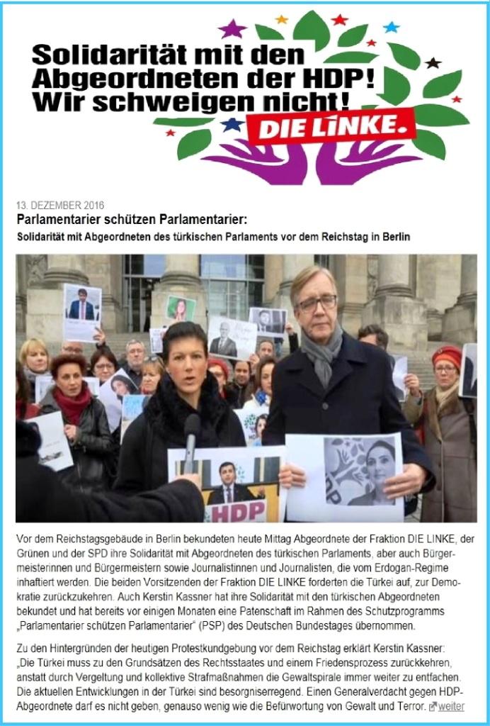 Parlamentarier schützen Parlamentarier: Solidarität mit Abgeordneten des türkischen Parlaments vor dem Reichstagsgebäude in Berlin