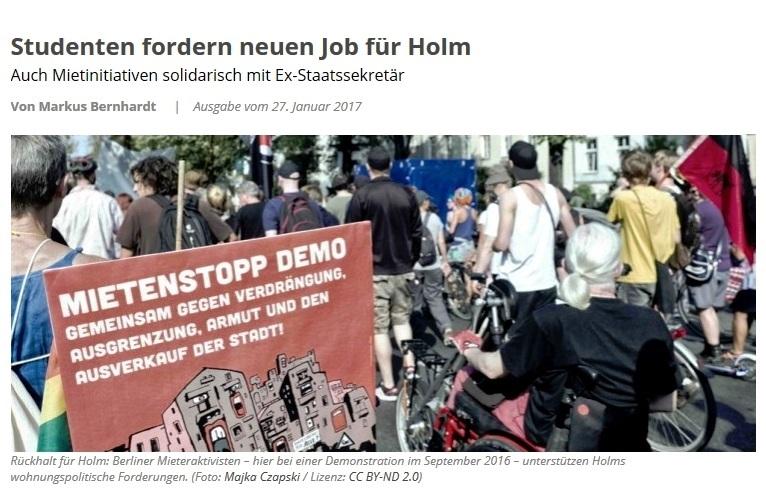 Solidarität mit Dr. Andrej Holm reißt nicht ab. Studenten fordern neuen Job für Holm. Auch Mietinitiativen solidarisch mit Ex-Staatssekretär
