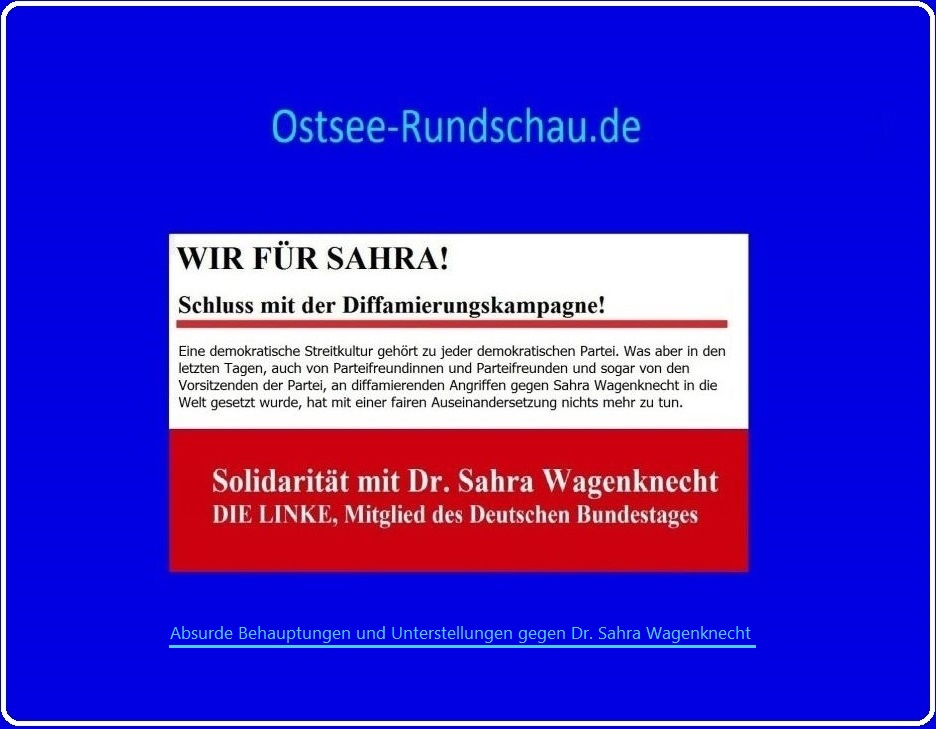 Dr. Sahra Wagenknecht, DIE LINKE, Mitglied des Deutschen Bundestages, Solidaritätsseite  auf  Ostsee-Rundschau.de