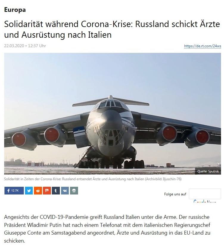 Europa - Solidarität während Corona-Krise: Russland schickt Ärzte und Ausrüstung nach Italien  - RT Deutsch - 22.03.2020