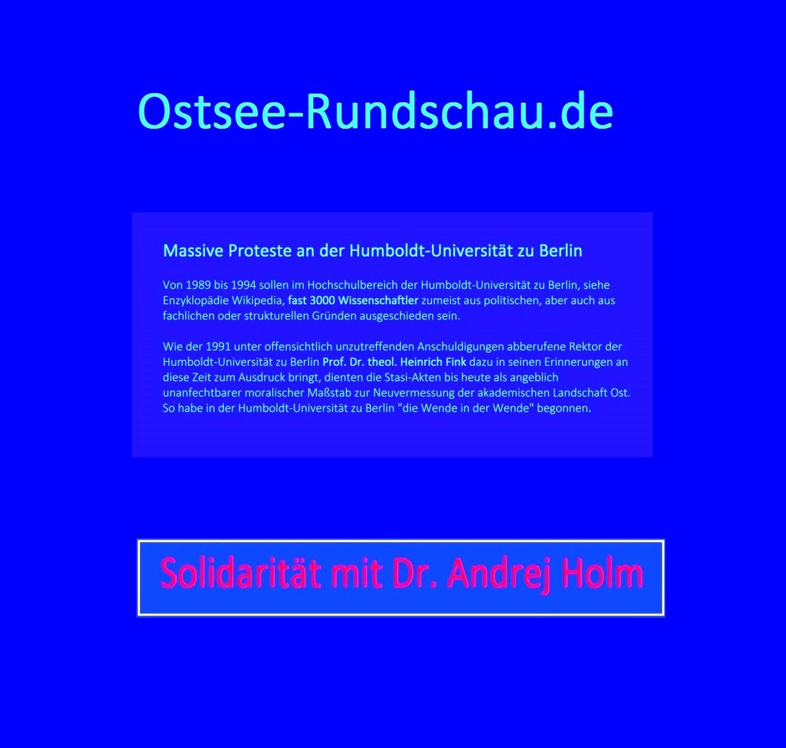 Solidaritätsseite für den Sozialwissenschaftler Dr. Andrej Holm, Institut für Sozialwissenschaften der Humboldt-Universität zu Berlin - Ostsee-Rundschau.de