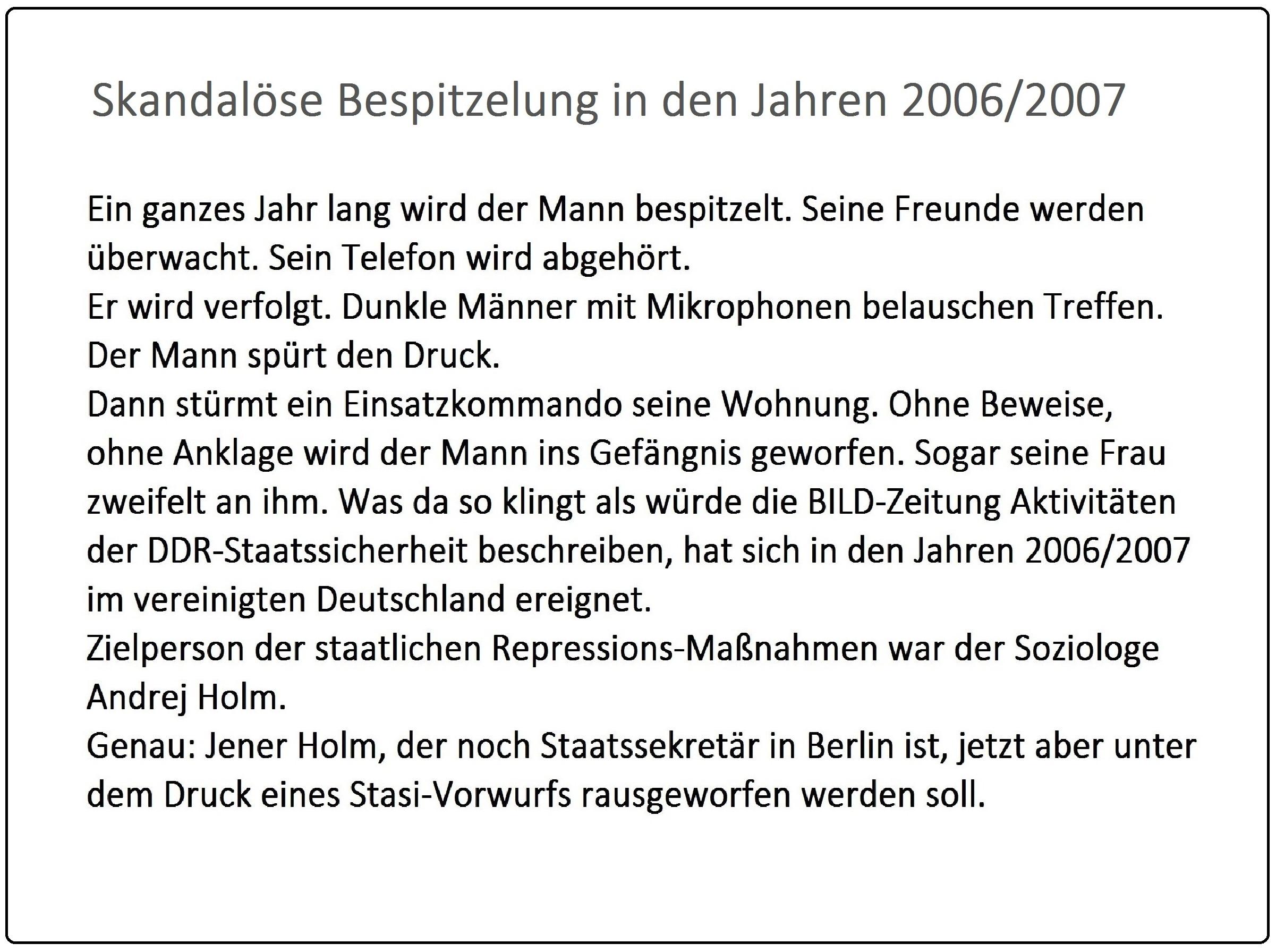 Skandalöse Bespitzelung in den Jahren 2006/2007 - Startseite: Der tiefe Staat schlägt zurück - Rot-Rot-Grünes Projekt vom Stasi-Torpedo getroffen - Rationalgalerie.de - Autor des Beitrages:  Ulrich Gellermann - Datum: 16. Januar 2017