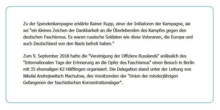 Spendenaktion ehemaliger deutscher Fallschirmjäger: Über 100.000 Euro für russische Veteranen - Zu der Spendenkampagne erklärte Rainer Rupp, einer der Initiatoren der Kampagne, sie sei 'ein kleines Zeichen der Dankbarkeit an die Überlebenden des Kampfes gegen den deutschen Faschismus. Es waren russische Soldaten wie diese Veteranen, die Europa und auch Deutschland von den Nazis befreit haben.' - RT DE - 5 Jan. 2021 21:21 Uhr