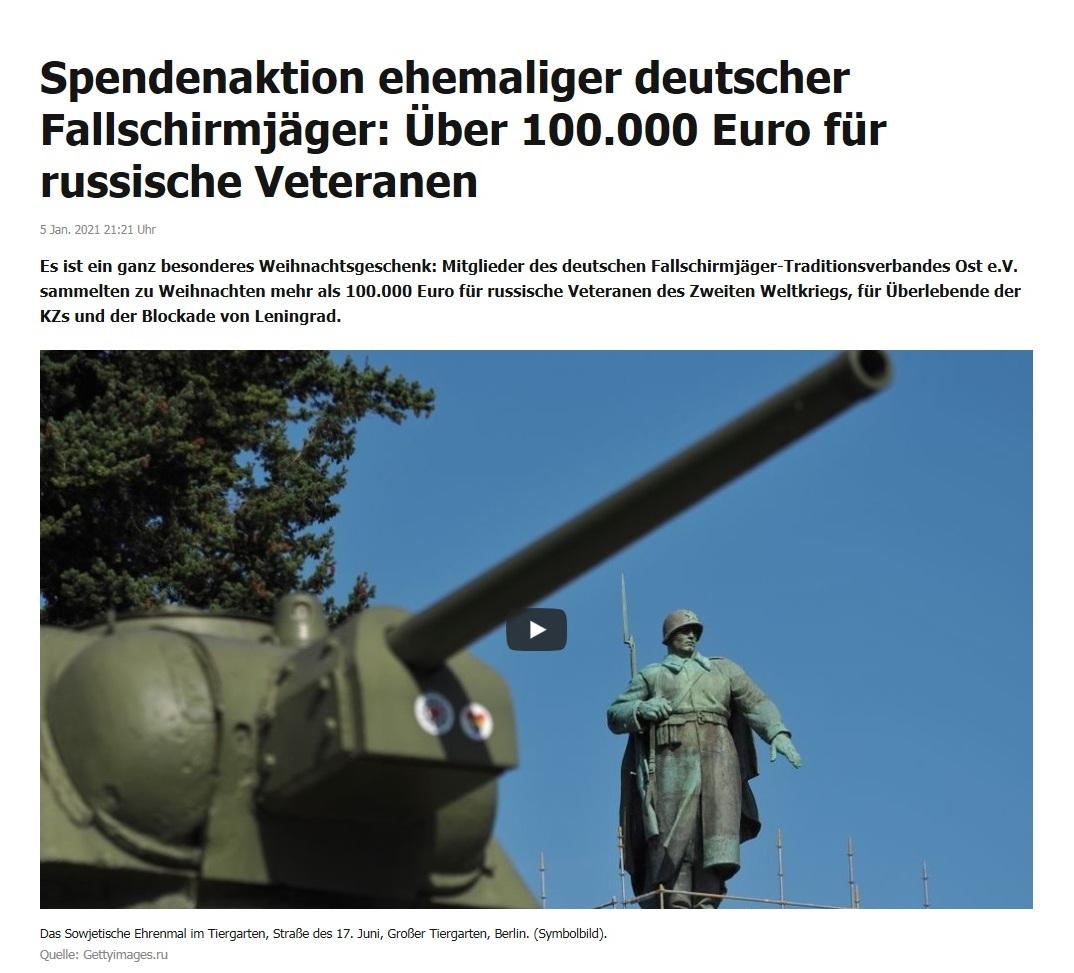 Spendenaktion ehemaliger deutscher Fallschirmjäger: Über 100.000 Euro für russische Veteranen - RT DE - 5 Jan. 2021 21:21 Uhr