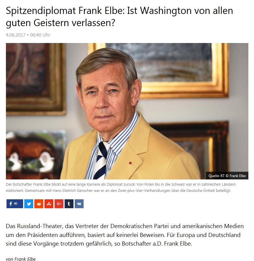 Spitzendiplomat Frank Elbe: Ist Washington von allen guten Geistern verlassen?