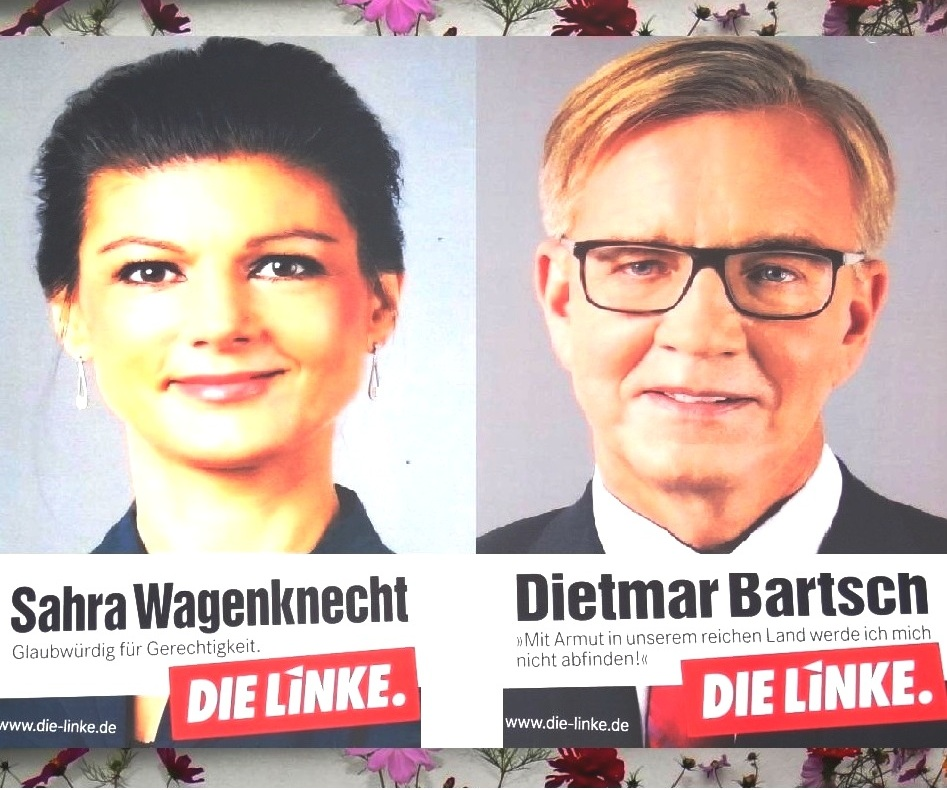 Das Spitzenduo der Partei DIE LINKE Dr. Sahra Wagenknecht und Dr. Dietmar Bartsch auf Plakaten zur Wahl zum 19. Deutschen Bundestag am 24. September 2017. Fotos: Eckart Kreitlow