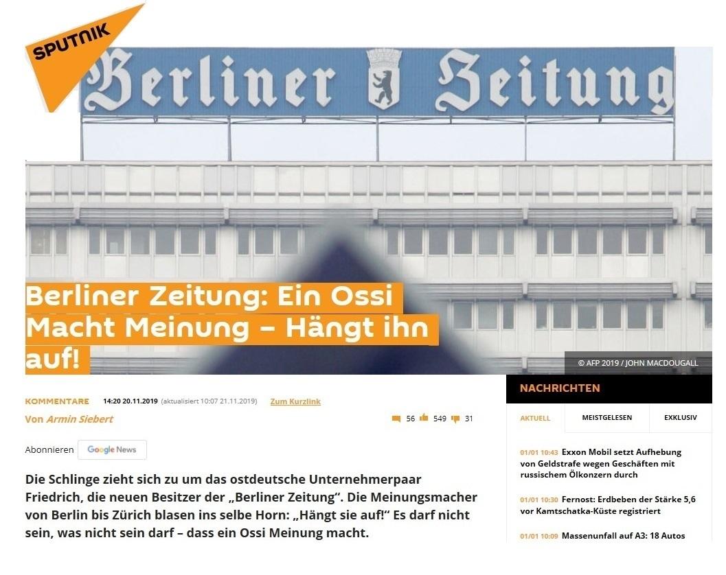 Sputnik - Berliner Zeitung: Ein Ossi Macht Meinung – Hängt ihn auf!  -  Kommentar -  Von Armin Siebert - Veröffentlicht: 19. 11. 2019