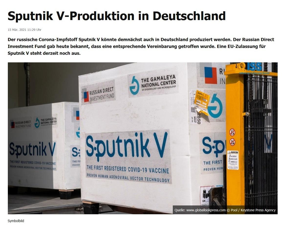 EU nimmt Verhandlungen über Beschaffung von Sputnik V auf -  RT DE - 15 Mär. 2021 15:06 Uhr