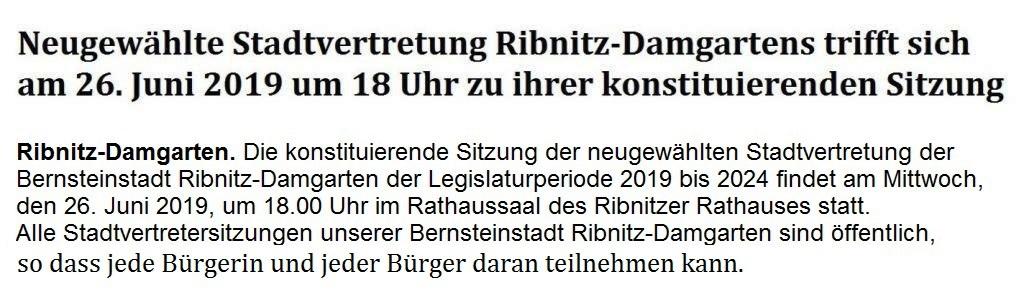 Neugewählte Stadtvertretung Ribnitz-Damgartens trifft sich am 26. Juni 2019 um 18 Uhr zu ihrer konstituierenden Sitzung
