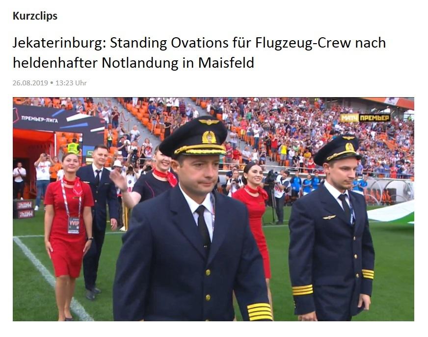 Kurzclips - Jekaterinburg: Standing Ovations für Flugzeug-Crew nach heldenhafter Notlandung in Maisfeld