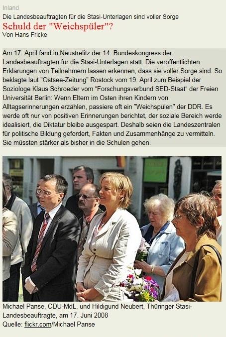 Stasihexenjagd östlich der Elbe und der Werra noch immer eine unendliche Geschichte - Stasibeauftragte offenbar unzufrieden mit ihrer DDR-Geschichtsbildvermittung - Die Landesbeauftragten für die Stasi-Unterlagen sind voller Sorge - Schuld der Weichspüler? - Von Hans Fricke