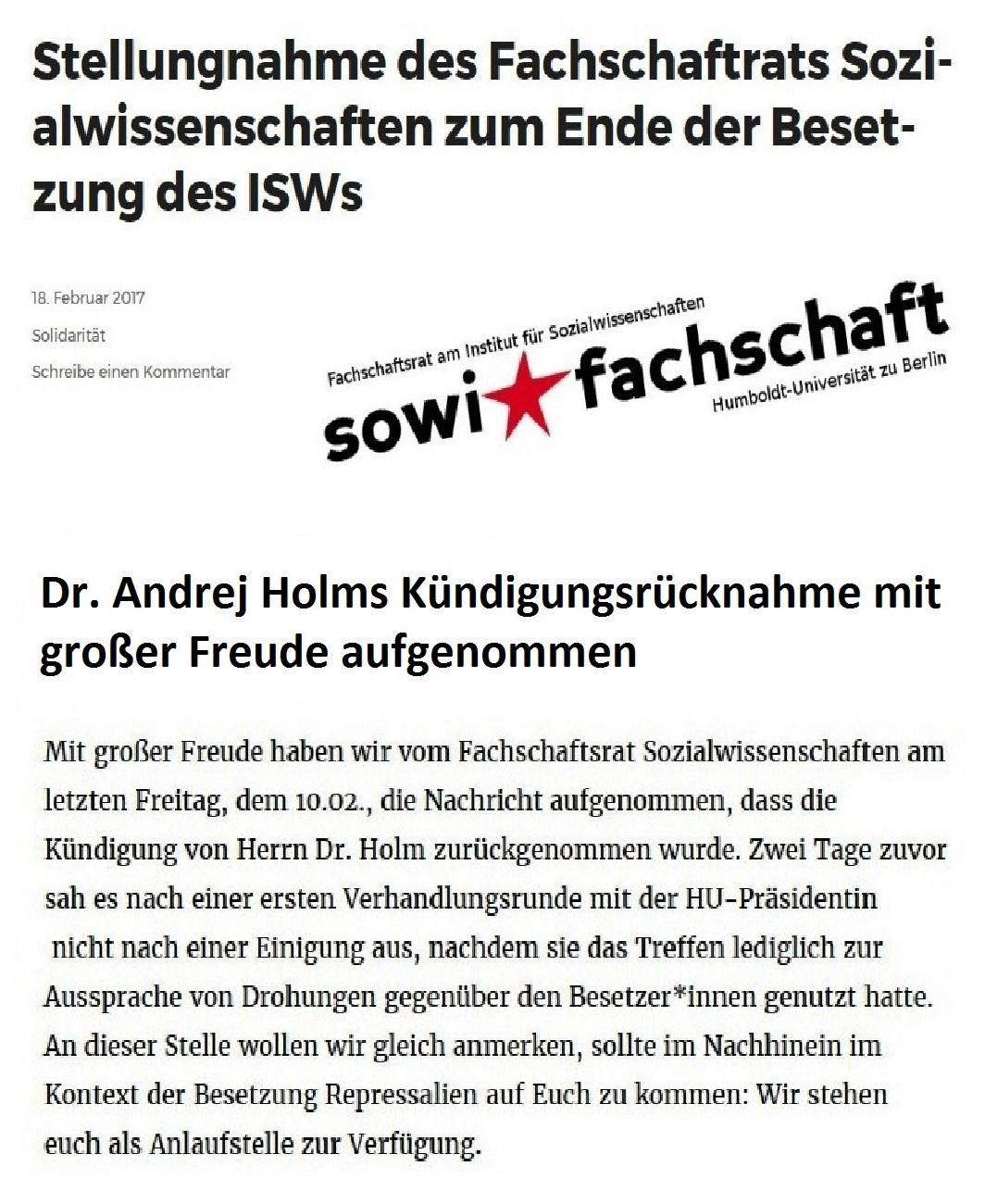 Stellungnahme des Fachschaftrats Sozialwissenschaften zum Ende der Besetzung des ISWs - Dr. Andrej Holms Kündigungsrücknahme vom SoWi-Fachschaftsrat mit großer Freude aufgenommen