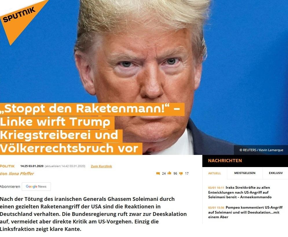 'Stoppt den Raketenmann!' – Linke wirft Trump Kriegstreiberei und Völkerrechtsbruch vor