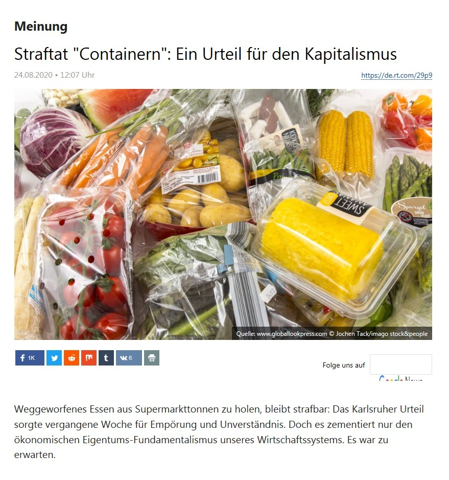 Meinung - Straftat 'Containern': Ein Urteil für den Kapitalismus - RT Deutsch - 24.08.2020