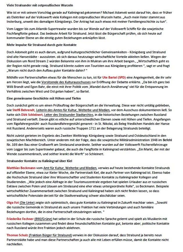 Stralsunder Bürgerschaft richtet ihre Blicke gen Kaliningrad - Von Jörg Mattern - Ostsee-Zeitung - Stralsund und Umgebung - Sonnabend/Sonntag, 24./25.April 2021 - Aus dem Posteingang von Siegfried Dienel vom 27.04.2021 - Abschnitt 2