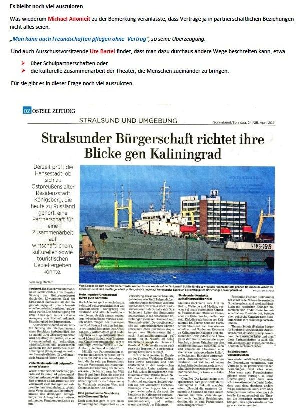 Stralsunder Bürgerschaft richtet ihre Blicke gen Kaliningrad - Von Jörg Mattern - Ostsee-Zeitung - Stralsund und Umgebung - Sonnabend/Sonntag, 24./25.April 2021 - Aus dem Posteingang von Siegfried Dienel vom 27.04.2021 - Abschnitt 3