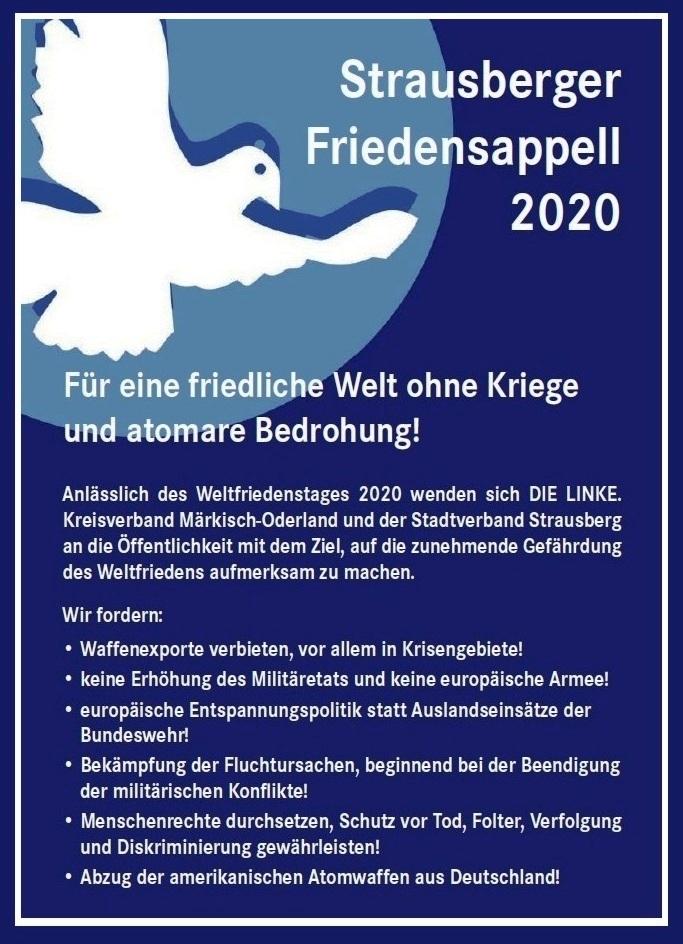 Aus dem Posteingang von Siegfried Dienel vom 04.01.2021 - Strausberger Friedensappell 2020 - PDF