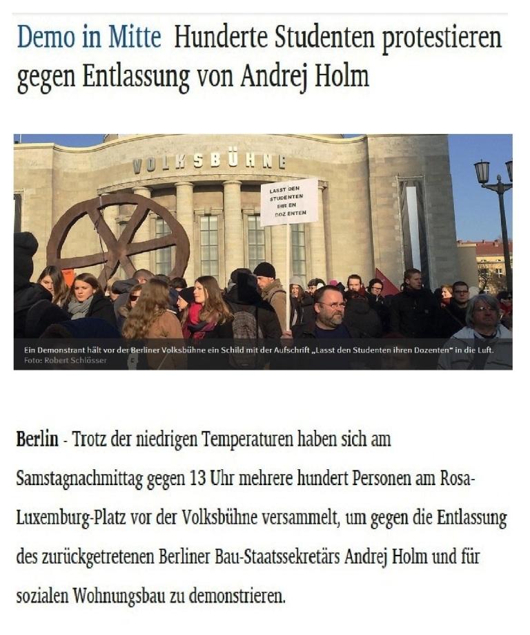 Demo in Berlin-Mitte - Hunderte Studenten protestieren gegen Entlassung von Andrej Holm