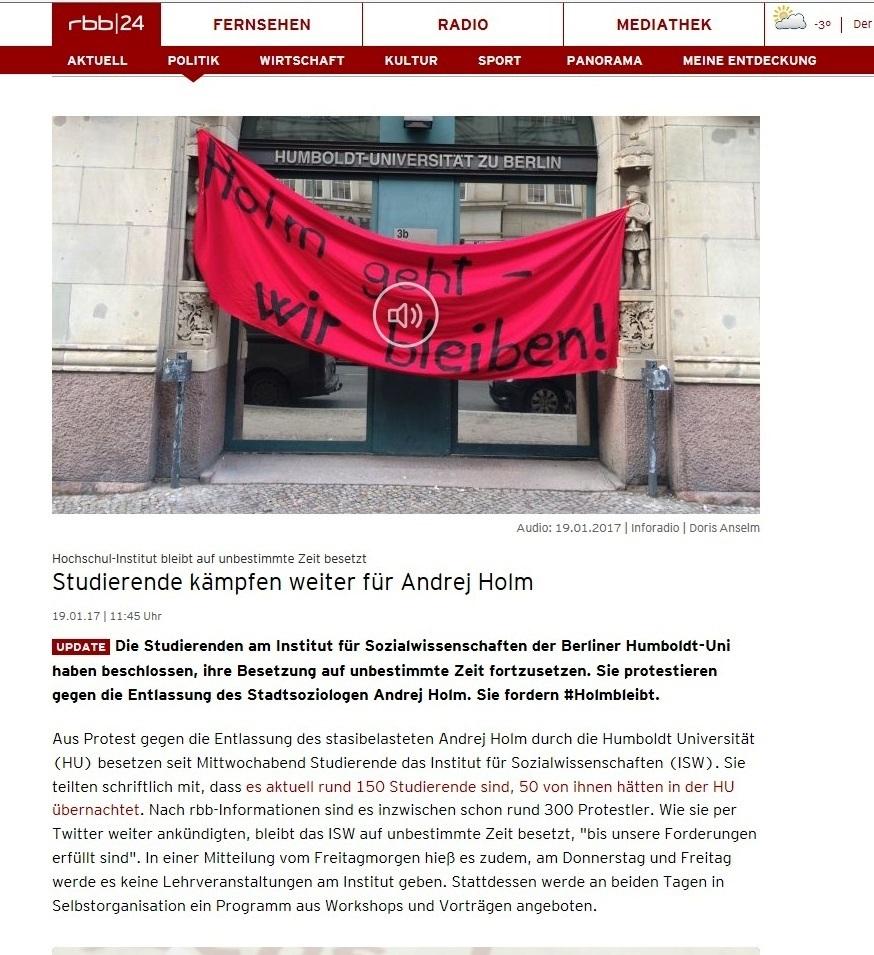 Januar 2017 - Studentenproteste an der Humboldt-Universität zu Berlin - Studierende kämpfen an der Humboldt-Universität zu Berlin für Andrej Holm!