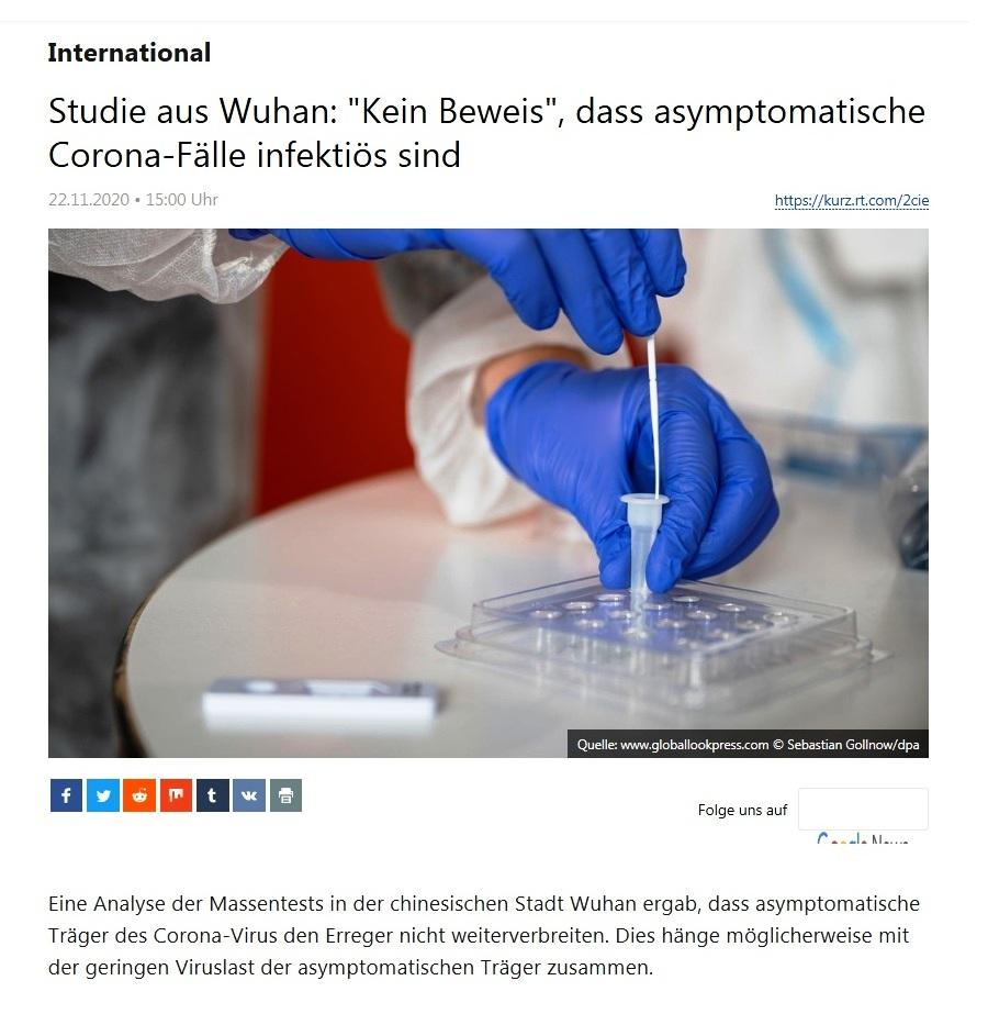 International - Studie aus Wuhan: 'Kein Beweis', dass asymptomatische Corona-Fälle infektiös sind  - RT Deutsch - 22.11.2020