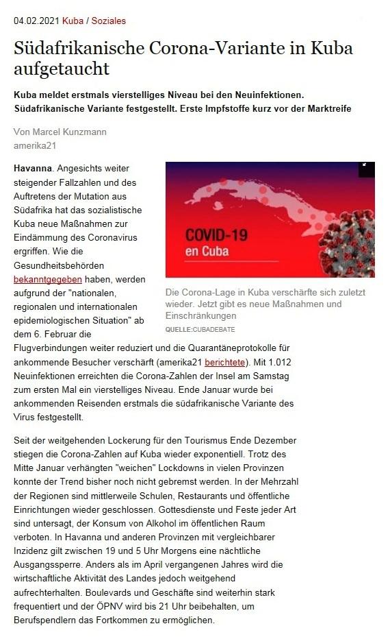 Südafrikanische Corona-Variante in Kuba aufgetaucht - Kuba meldet erstmals vierstelliges Niveau bei den Neuinfektionen. Südafrikanische Variante festgestellt. Erste Impfstoffe kurz vor der Marktreife - Von Marcel Kunzmann- amerika21 - Nachrichten und Analysen aus Lateinamerika - 04.02.2021