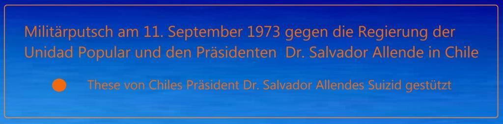 Militärputsch am 11. September 1973 gegen die Regierung der Unidad Popular und den Präsidenten Dr. Salvador Allende in Chile - These von Chiles Präsident Dr. Salvador Allendes Suizid gestützt