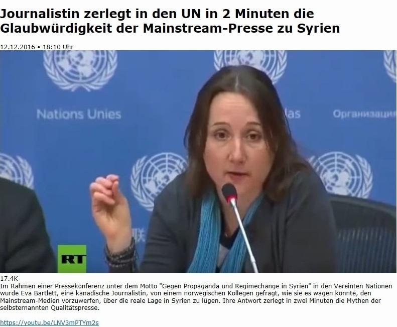 Aus dem Posteingang an Ostsee-Rundschau.de - Kurzclips - Journalistin zerlegt in den UN in zwei Minuten die Glaubwürdigkeit der Mainstream-Presse zu Syrien - https://youtu.be/LNV3mPTYm2s