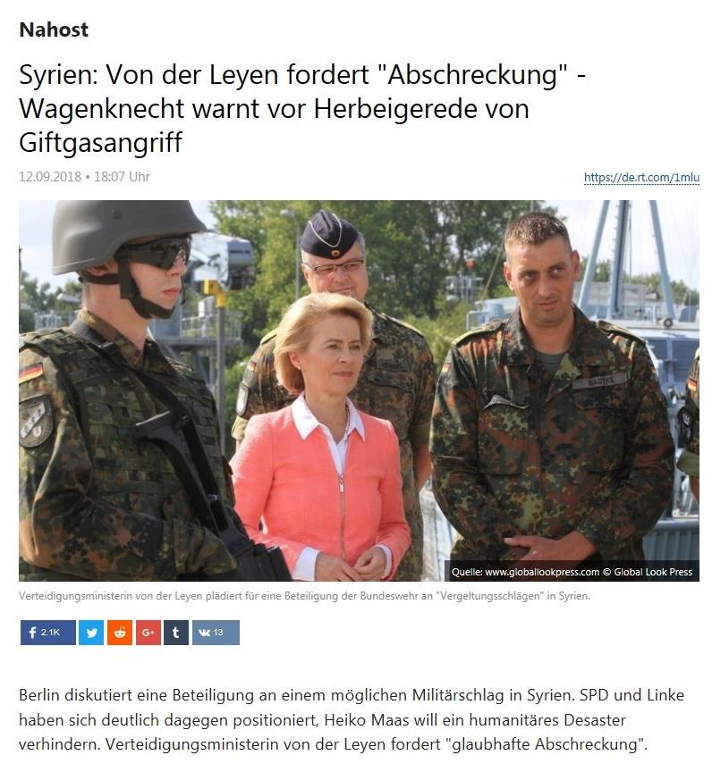 Nahost - Syrien: Von der Leyen fordert 'Abschreckung' - Wagenknecht warnt vor Herbeigerede von Giftgasangriff