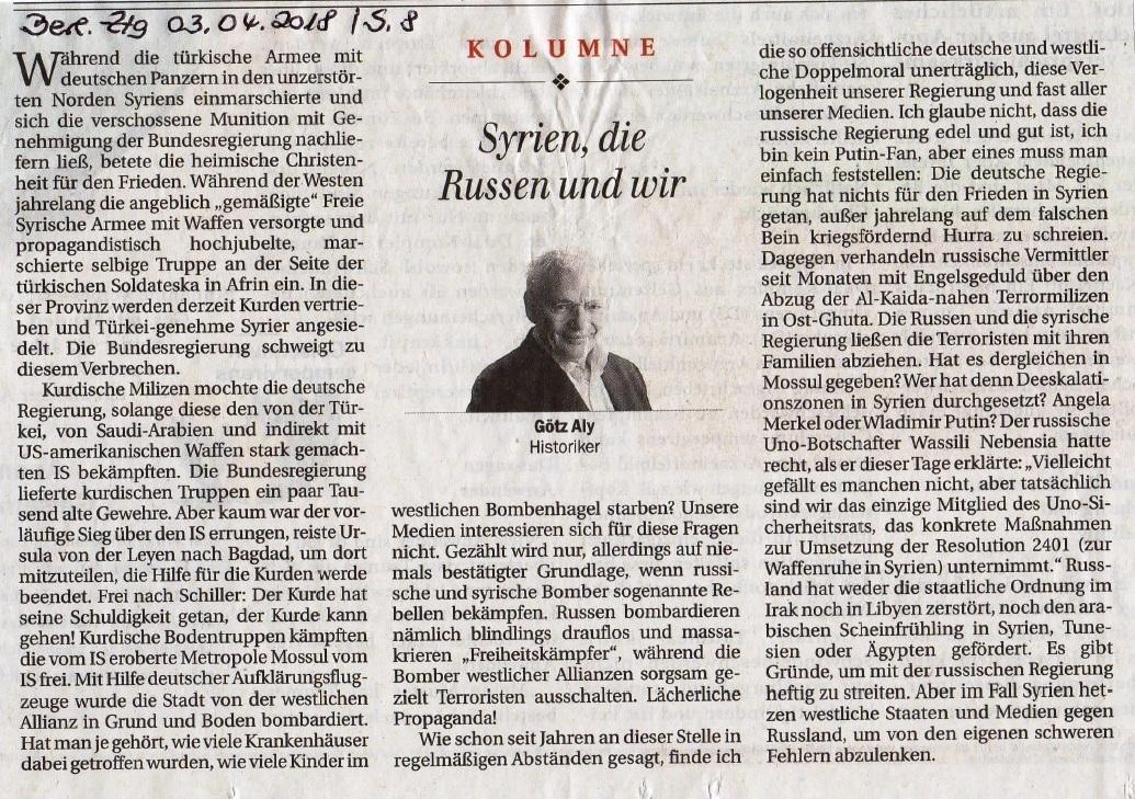 Aus dem Posteingang von Dr. Marianne Linke - Kolumne von Götz Aly, Historiker, in der Berliner Zeitung am 03.04.2018 - Seite 8