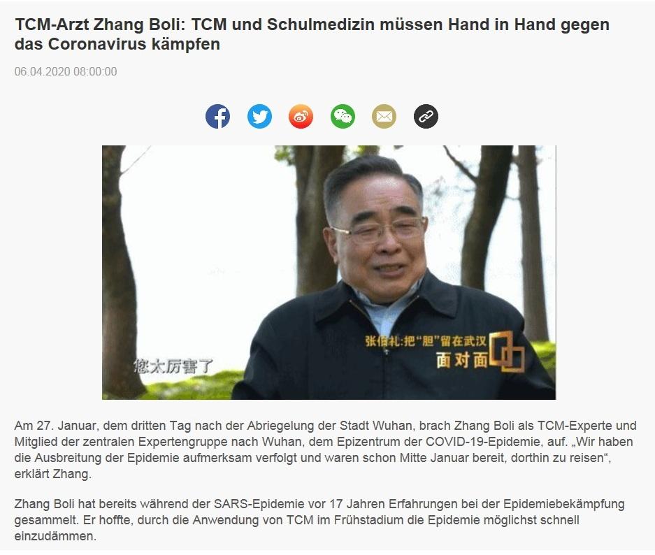 TCM-Arzt Zhang Boli: TCM und Schulmedizin müssen Hand in Hand gegen das Coronavirus kämpfen - CRI online Deutsch - 6.04.2020