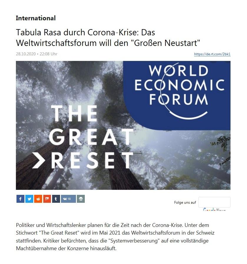 International - Tabula Rasa durch Corona-Krise: Das Weltwirtschaftsforum will den 'Großen Neustart' - RT Deutsch - 28.10.2020