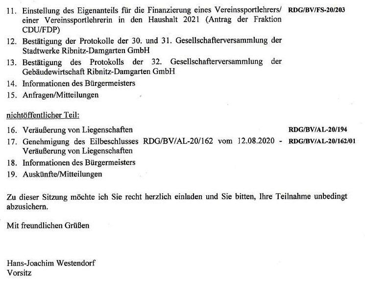 Tagesordnung der 11. Sitzung dieser Legislaturperiode der Stadtvertretung Ribnitz-Damgarten am Mittwoch, dem 09. Dezember 2020, von 18:00 Uhr bis etwa gegen 19:40 Uhr im Begegnungszentrum  unserer Bernsteinstadt Ribnitz-Damgarten in der G.-A.-Demmler-Straße 6 - 2