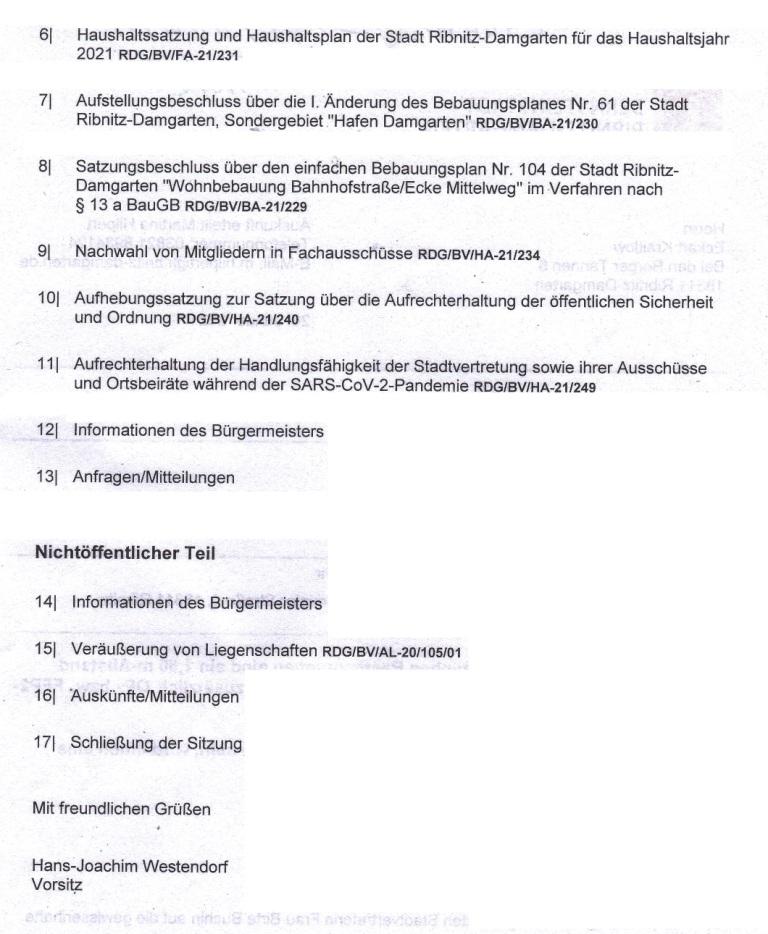 Tagesordnung der 12. Sitzung dieser Legislaturperiode der Stadtvertretung Ribnitz-Damgarten am Mittwoch, dem 03. Februar 2021, von 18:00 Uhr bis etwa gegen 19:10 Uhr im Begegnungszentrum unserer Bernsteinstadt Ribnitz-Damgarten in der G.-A.-Demmler-Straße 6