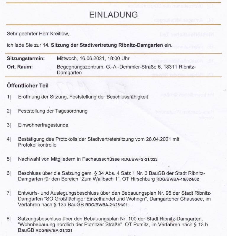 Tagesordnung der 14. Sitzung dieser Legislaturperiode der Stadtvertretung Ribnitz-Damgarten am Mittwoch, dem 16. Juni 2021, von 18:00 Uhr bis 19:22 Uhr im Begegnungszentrum unserer Bernsteinstadt Ribnitz-Damgarten in der G.-A.-Demmler-Straße 6  - Teil 1
