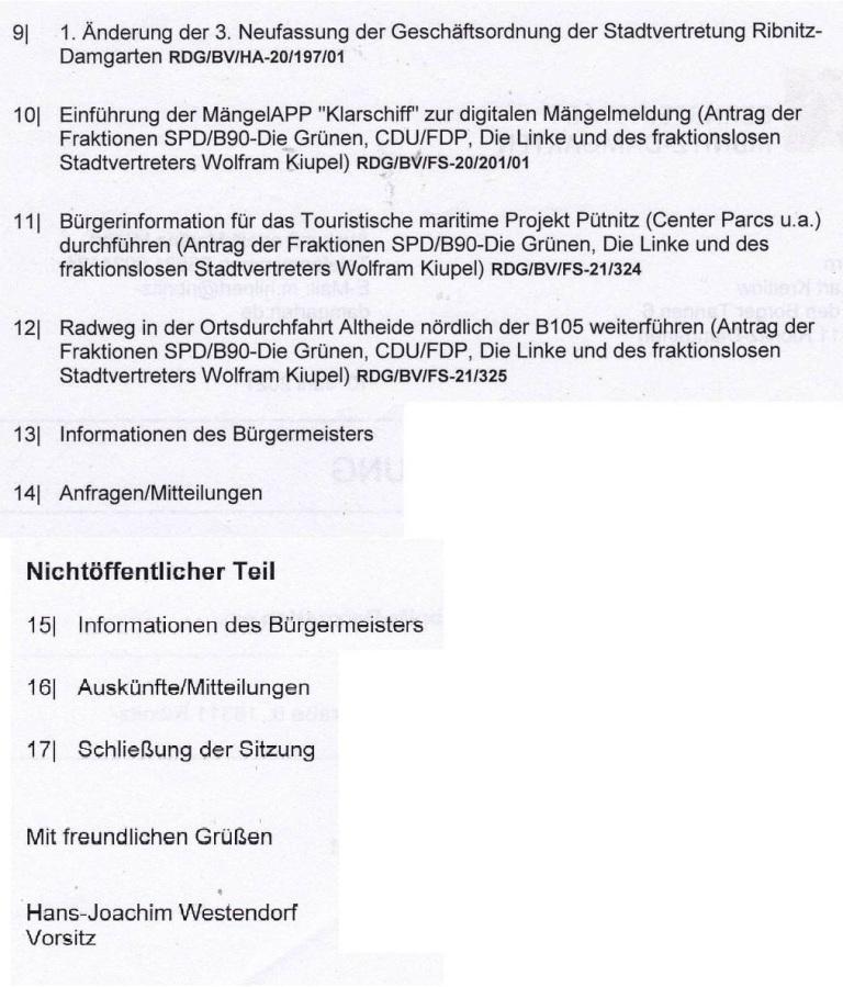 Tagesordnung der 14. Sitzung dieser Legislaturperiode der Stadtvertretung Ribnitz-Damgarten am Mittwoch, dem 16. Juni 2021, von 18:00 Uhr bis 19:22 Uhr im Begegnungszentrum unserer Bernsteinstadt Ribnitz-Damgarten in der G.-A.-Demmler-Straße 6  - Teil 2