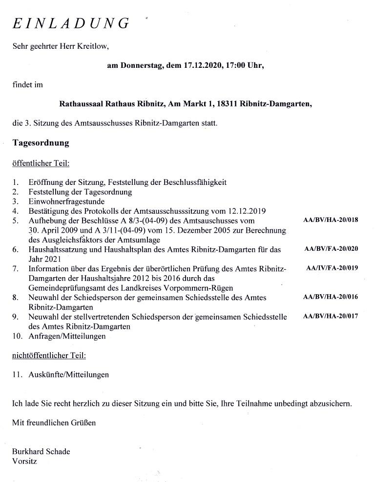 Tagesordnung der 3. Sitzung dieser Legislaturperiode des Amtsausschusses Ribnitz-Damgarten am Donnerstag, dem 17. Dezember 2020, von 17:00 Uhr bis etwa gegen 17:40 Uhr im Rathaussaal des Rathauses Ribnitz-Damgarten, Am Markt 1
