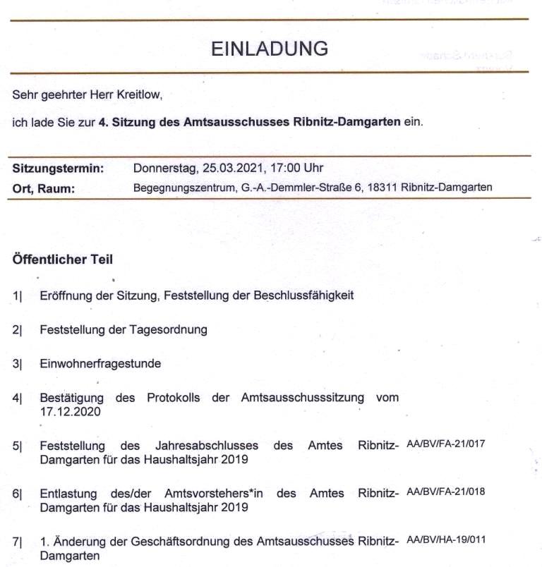 Tagesordnung der 4. Sitzung dieser Legislaturperiode des Amtsausschusses Ribnitz-Damgarten am Donnerstag, dem 25. März 2021, 17:00 Uhr im Begegnungszentrum Ribnitz-Damgarten, G. - A. - Demmler-Str. 6