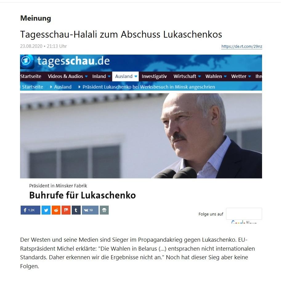Meinung - Tagesschau-Halali zum Abschuss Lukaschenkos - RT Deutsch - 23.08.2020