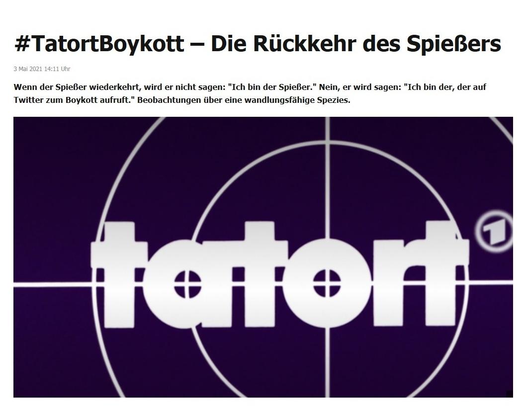 #TatortBoykott – Die Rückkehr des Spießers -  RT DE - 3 Mai 2021 14:11 Uhr