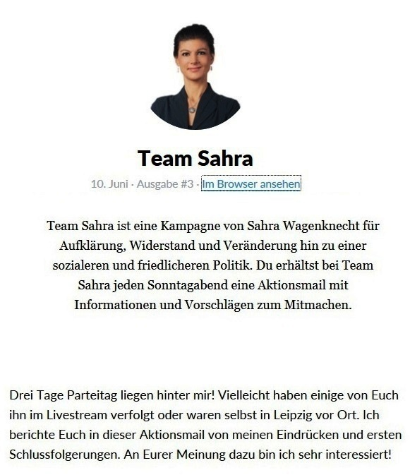 Aus dem Posteingang vom Team Sahra - Team Sahra ist eine Kampagne von Sahra Wagenknecht für Aufklärung, Widerstand und Veränderung hin zu einer sozialeren und friedlicheren Politik.