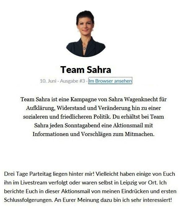 Aus dem Posteingang vom Team Sahra - Team Sahra ist eine Kampagne von Sahra Wagenknecht für Aufklärung, Widerstand und Veränderung hin zu einer sozialeren und friedlicheren Politik.